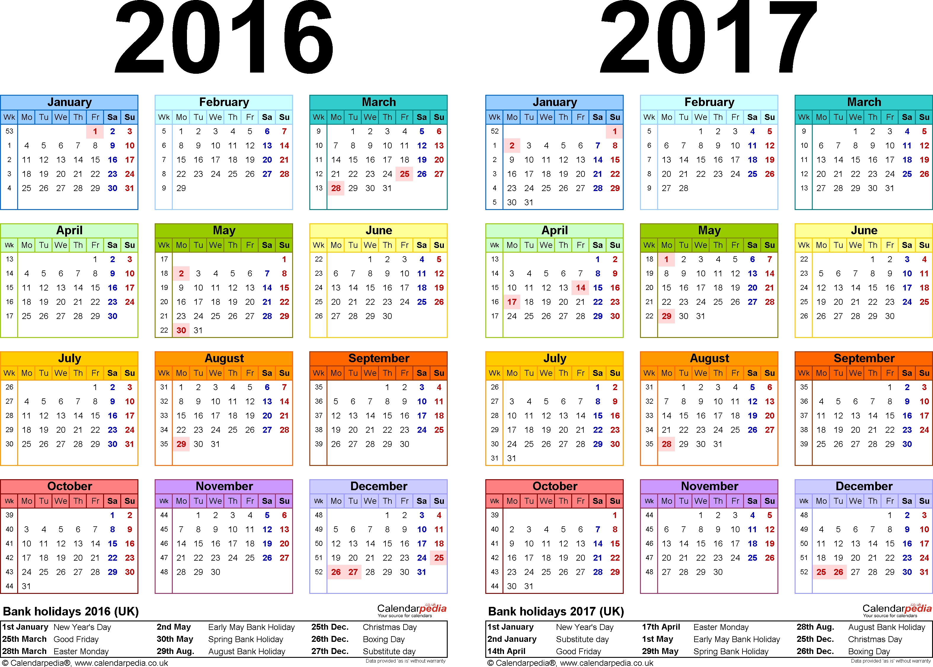 Template 1: Word Template For Two Year Calendar 2016/2017 In