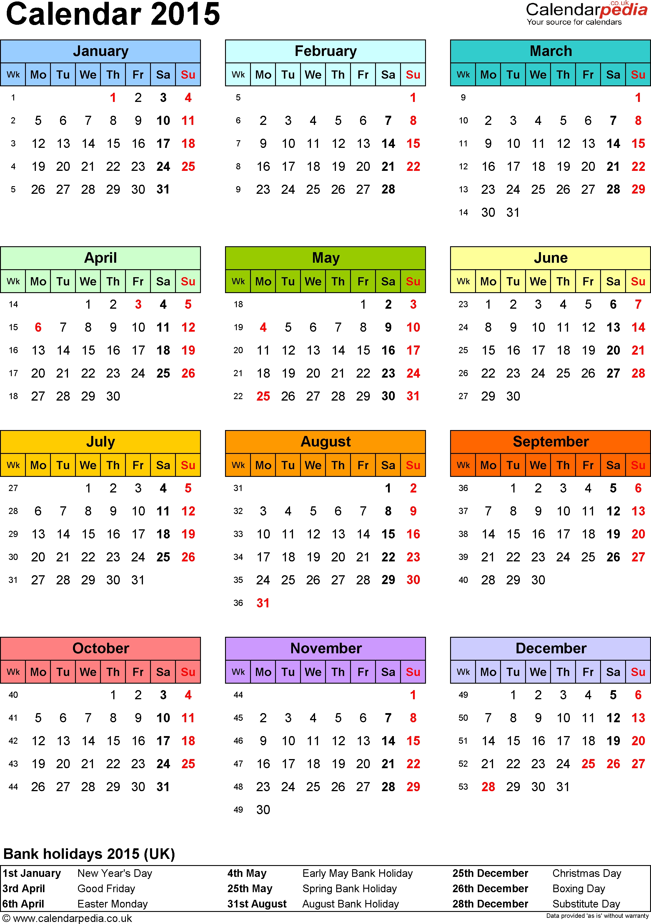 Template 9: Yearly Calendar 2015 As Pdf Template, Portrait