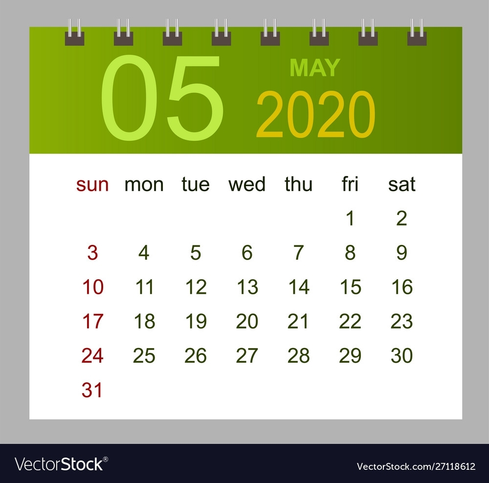 Template Calendar For May 2020 Week Starts