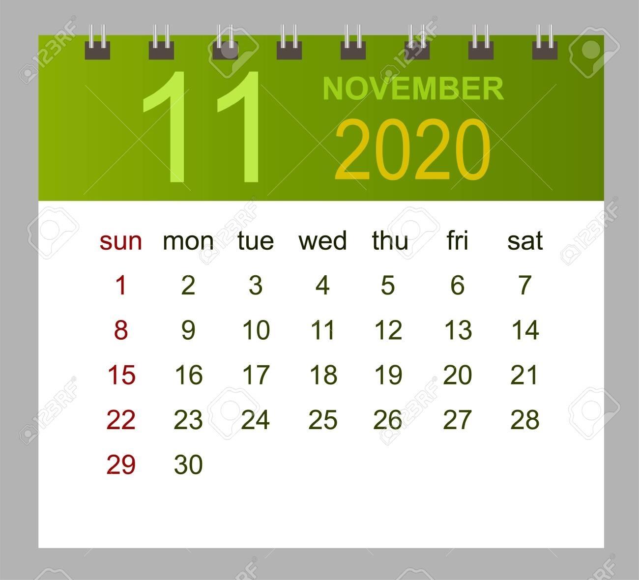 Template Of Calendar For November 2020. Week Starts Sunday. Vector..