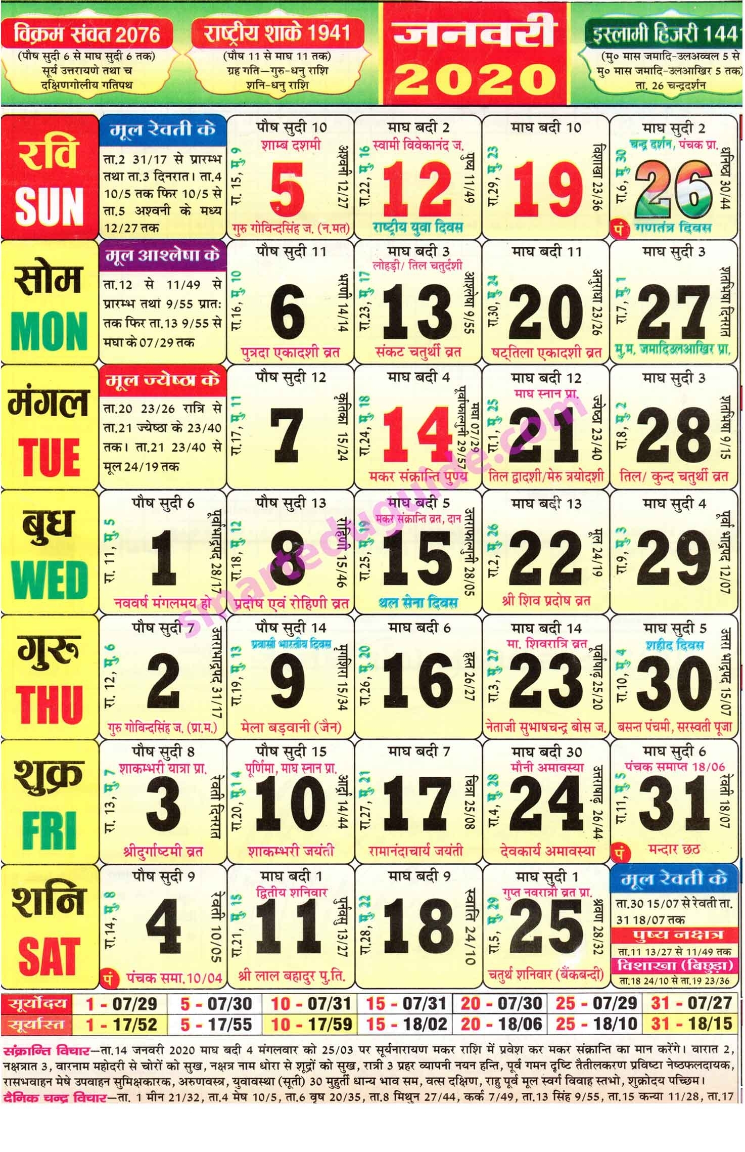 Thakur Prasad Calendar 2020 In Hindi Pdf Free Download | Seg