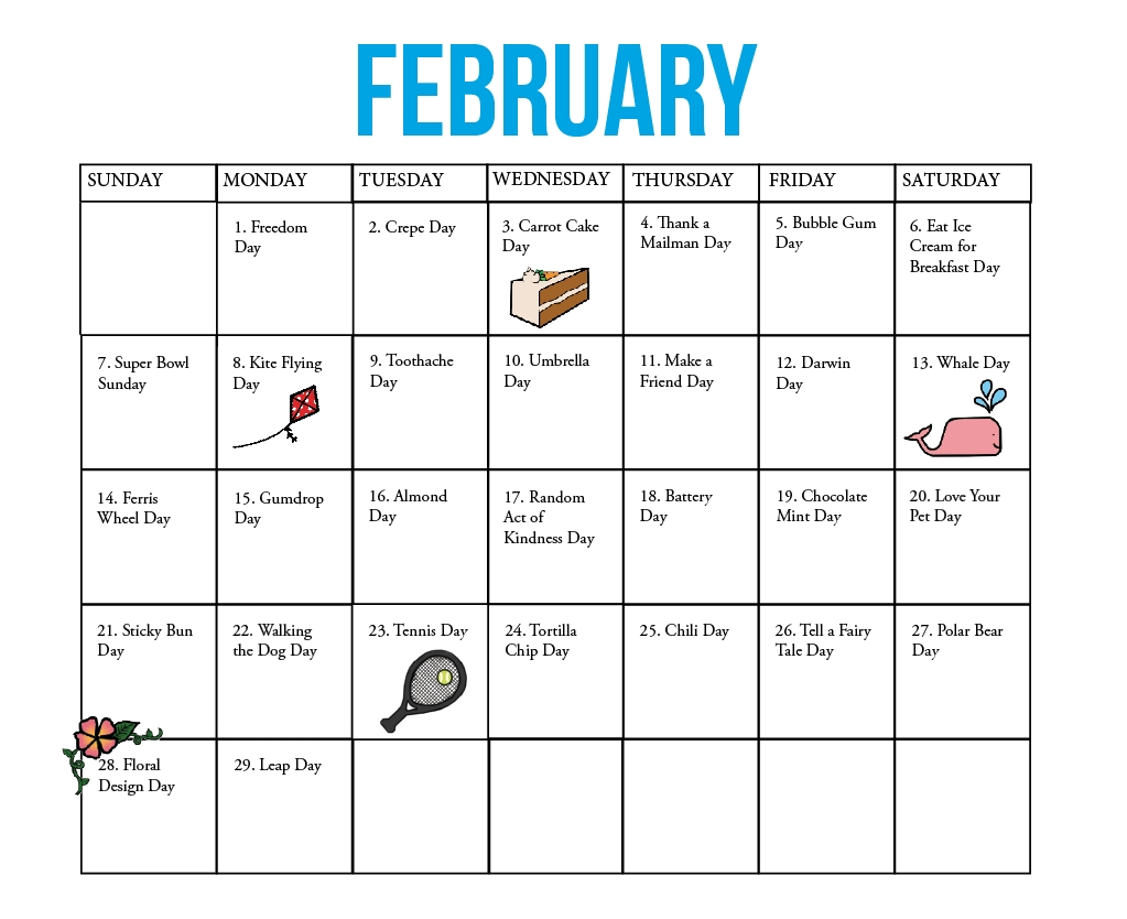 The Kirkwood Call | Fun National Holiday Calendar: February