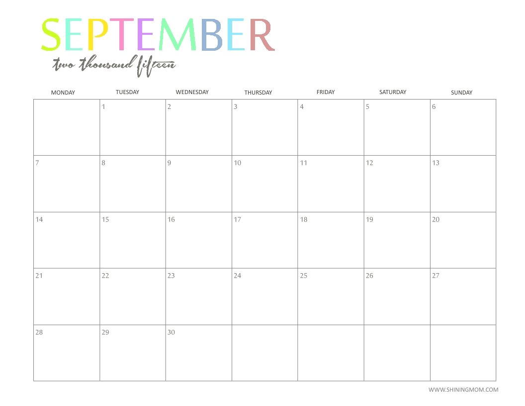 The Printable 2015 Monthly Calendarshiningmom Is Here!