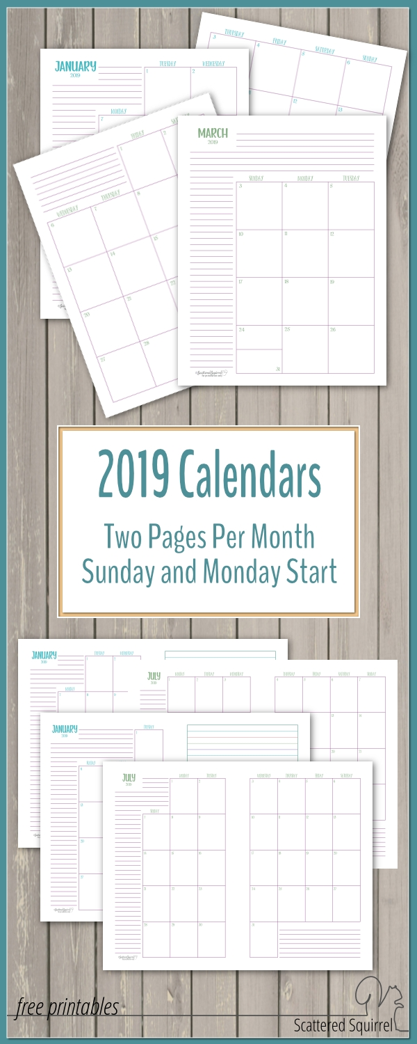The Two Pages Per Month 2019 Calendars Are Ready