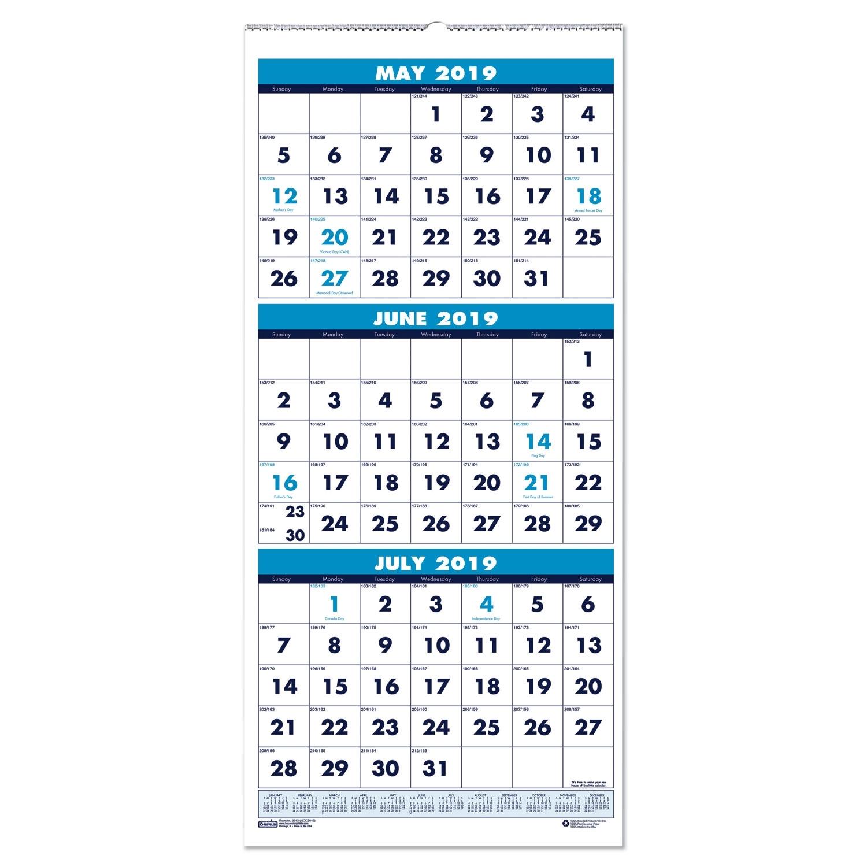 Three-Month Academic Wall Calendar, 8 X 17, 14-Month (June-July), 2019-2020