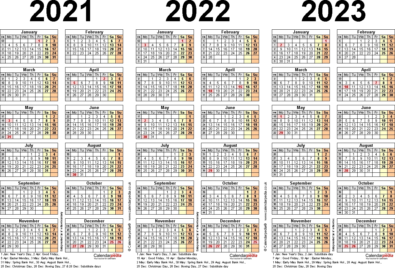 Three Year Calendars For 2021, 2022 & 2023 (Uk) For Excel