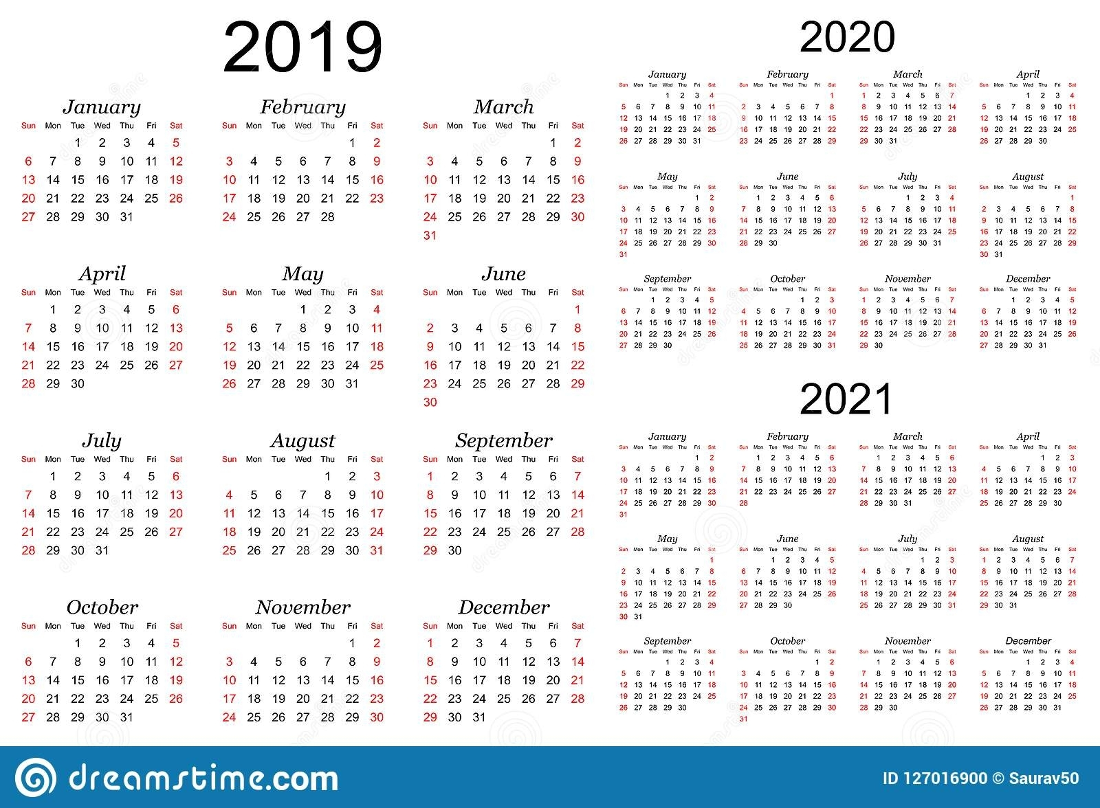 Three Year Vector Calendar - 2019, 2020 And 2021 Stock
