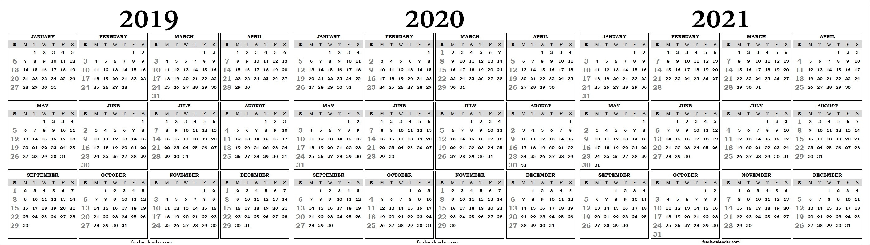 Three Yearly 2019 2020 2021 Calendar Printable Free | Blank