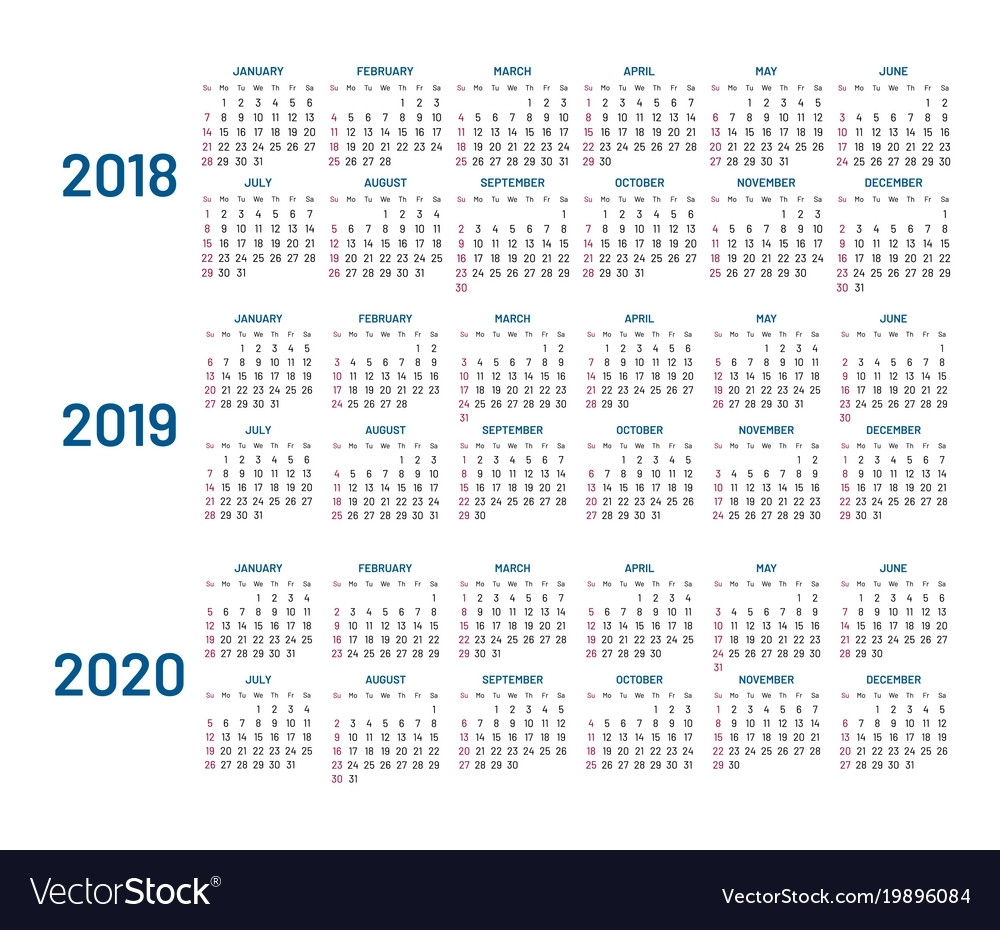 Three Years Calendar 2018 2019 2020 Isolated