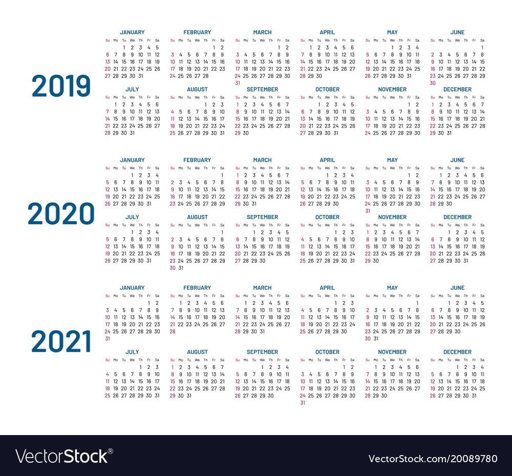 Three Years Calendar 2019 2020 2021 Isolated