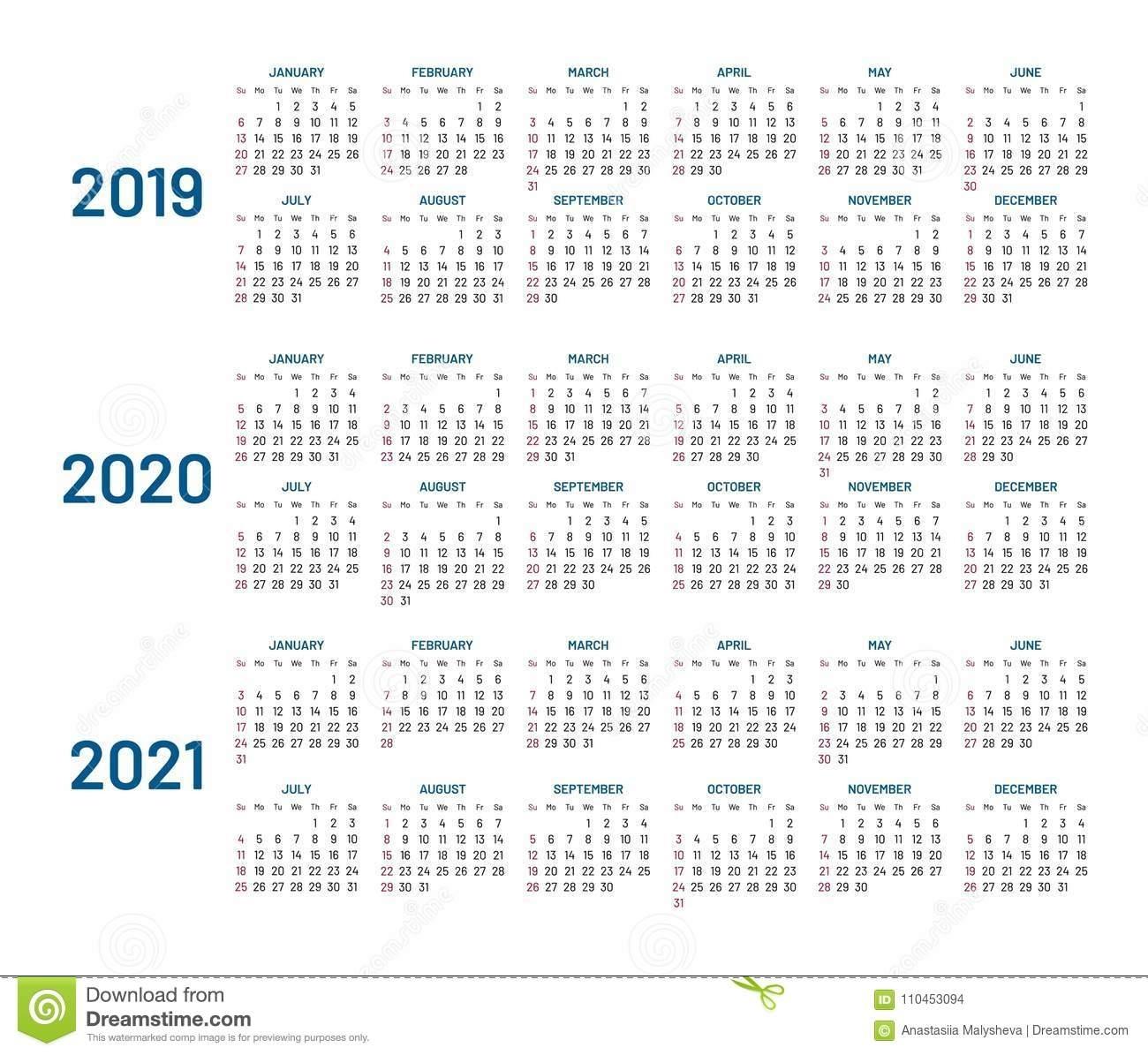Three Years Calendar, 2019, 2020, 2021, Isolated, Flat Stock