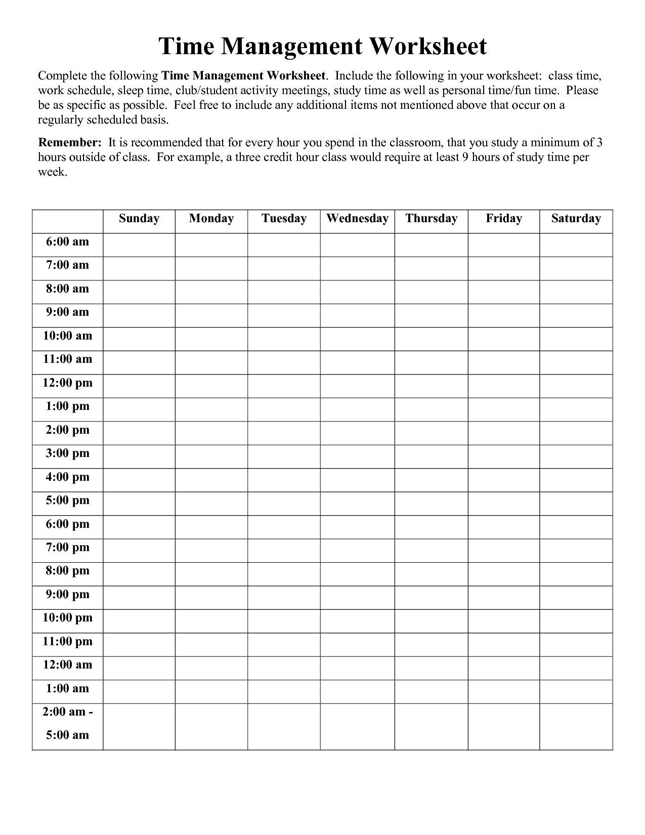 Time Management Worksheet Pdf | Time Management Worksheet