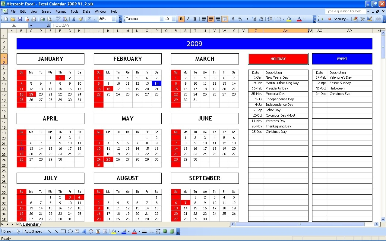 Top 5 Excel Yearly Calendar - Excel Spreadsheet