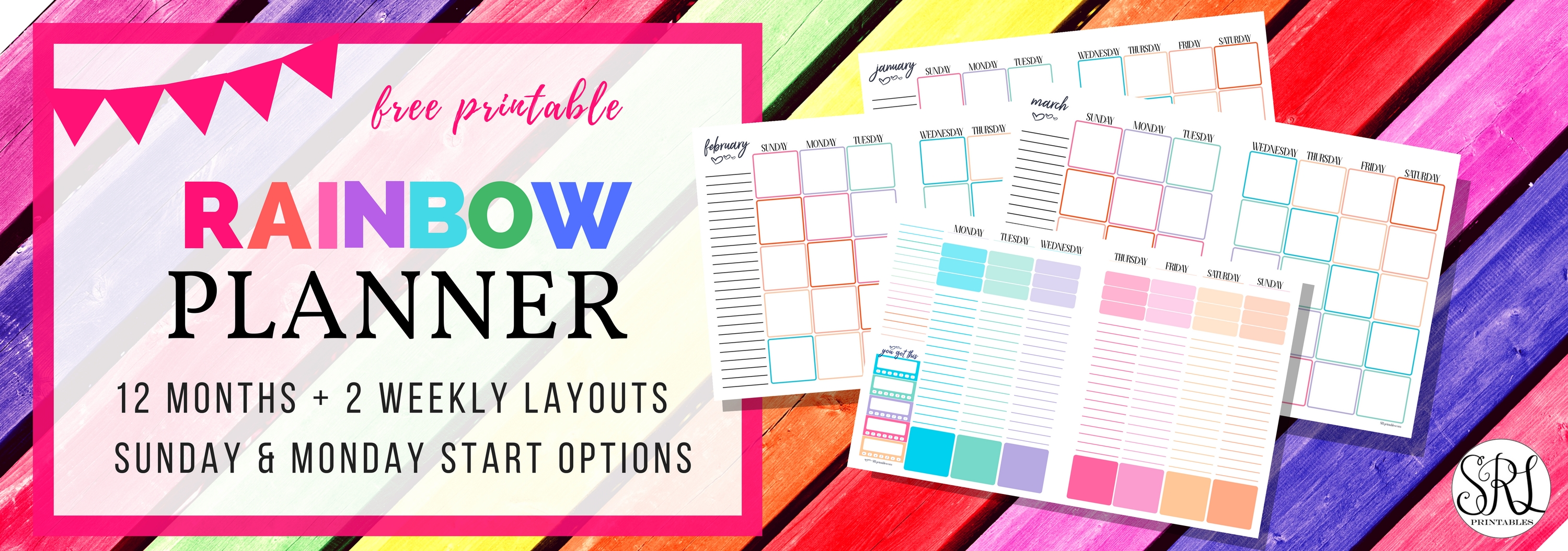 Totally Cute And Free Printable Rainbow Planner - Monthly