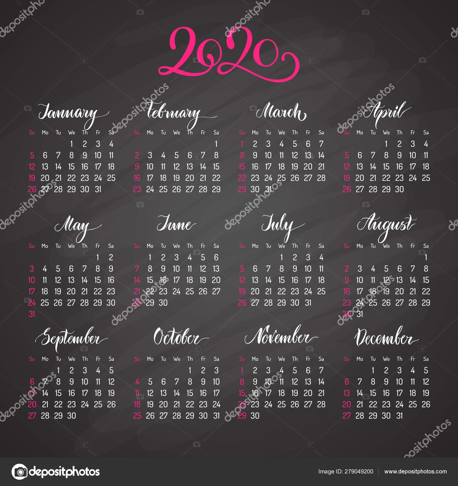 Traditional View Calendar Layout For 2020 Year — Stock