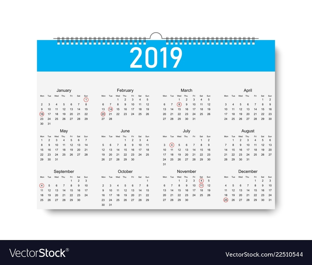 Trendy Calendar On 2019 Year Days For Holiday