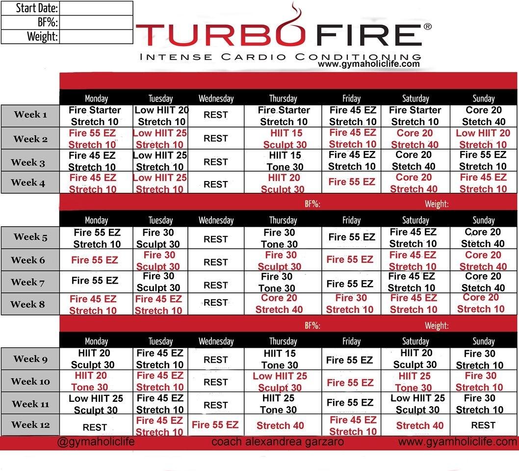 Turbo Fire Calendar Schedule   Workout Calendar, Beachbody