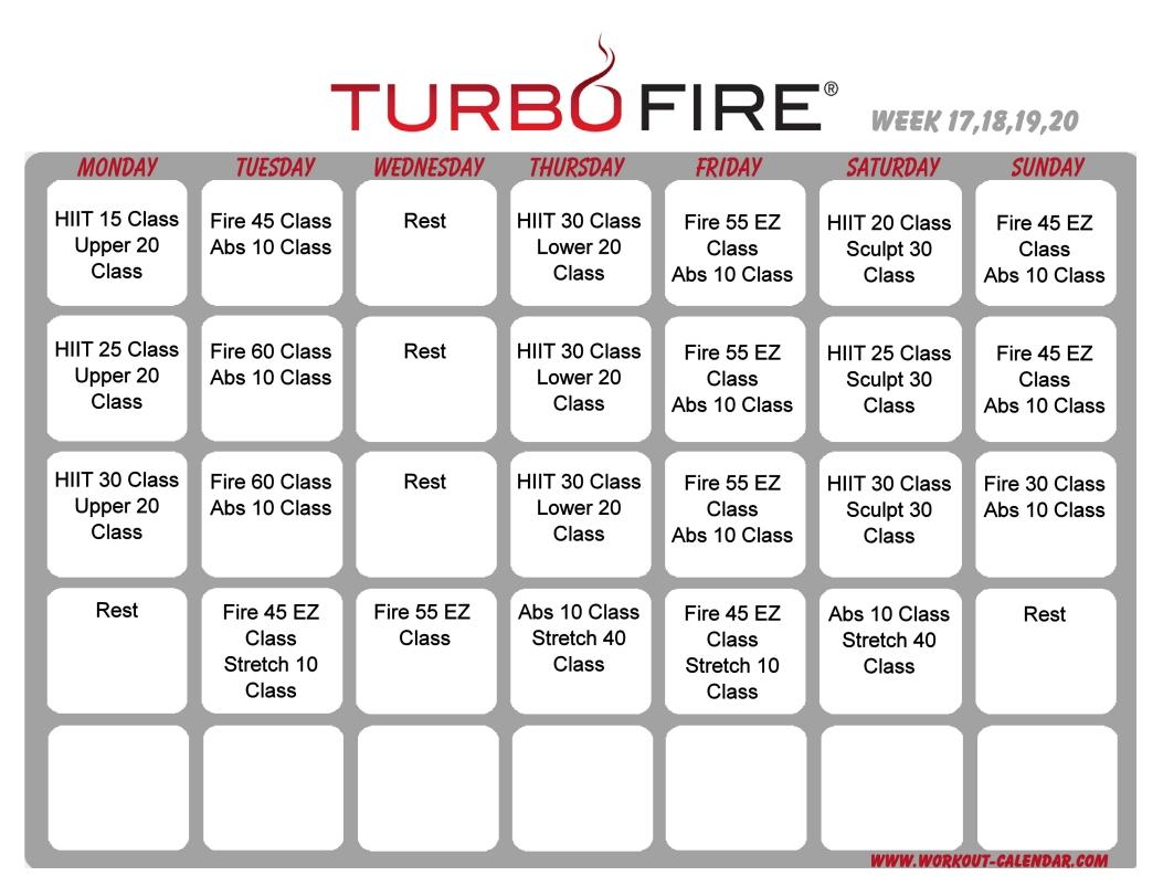 Turbo Fire Schedule Weeks 17-20   Workout Calendar, Home