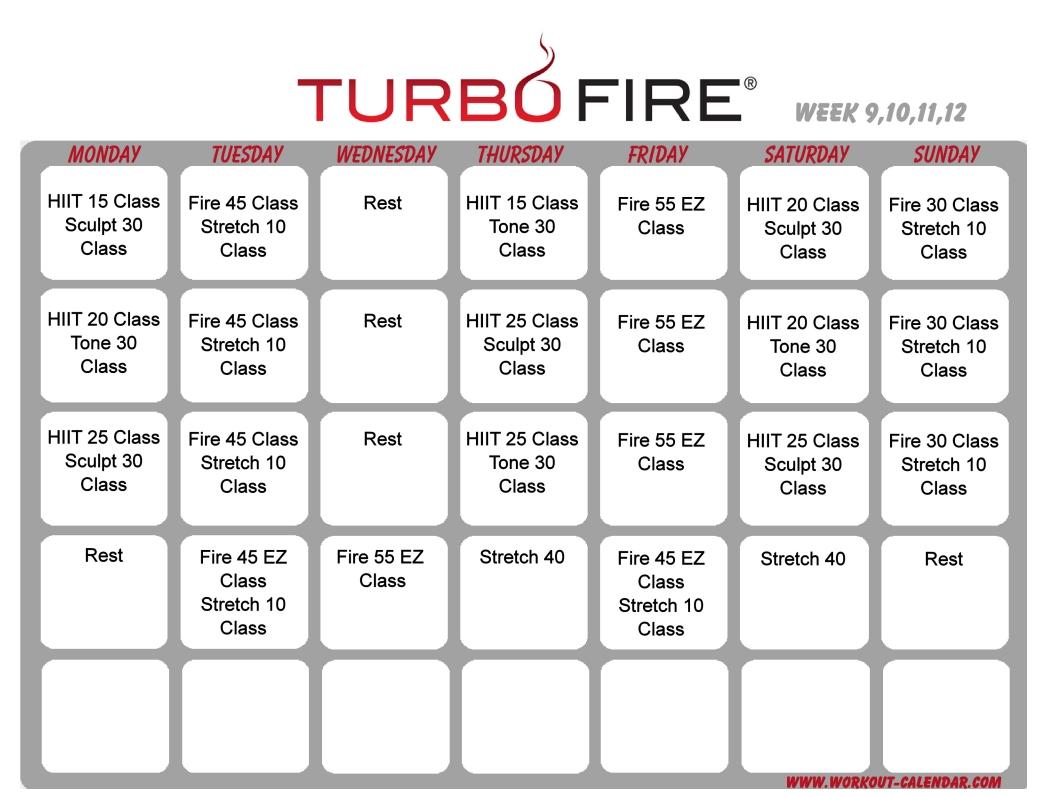Turbo Fire Schedule Weeks 9-12   Workout Calendar, Home