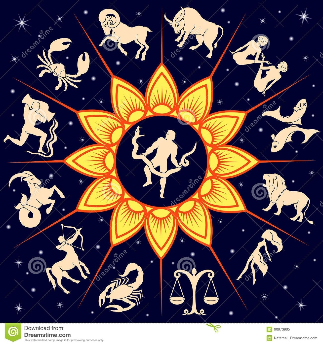 Twelve Zodiac Signs Around The Sun And Ophiuchus Stock