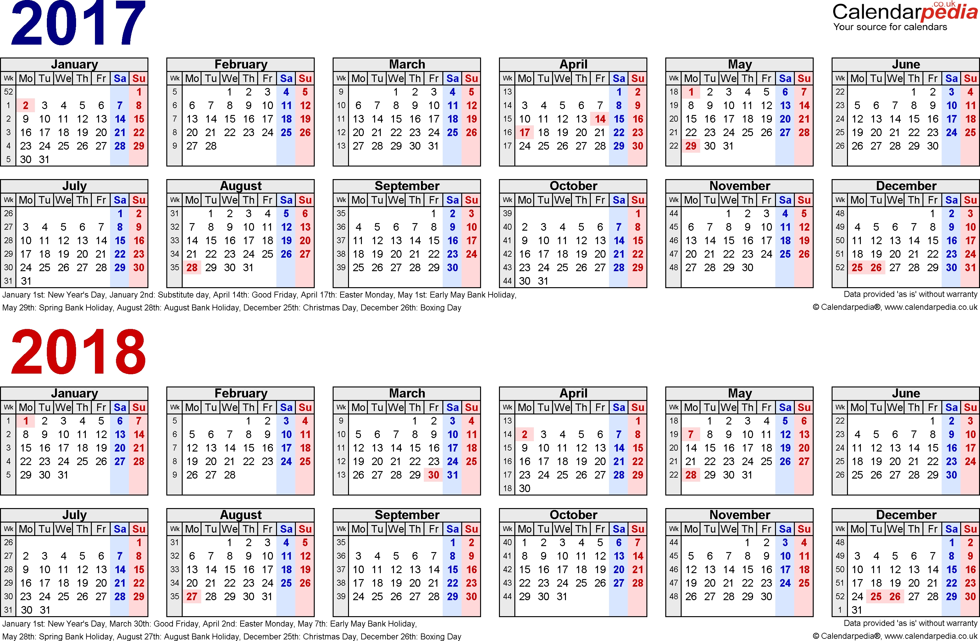 Two Year Calendars For 2017 & 2018 (Uk) For Word