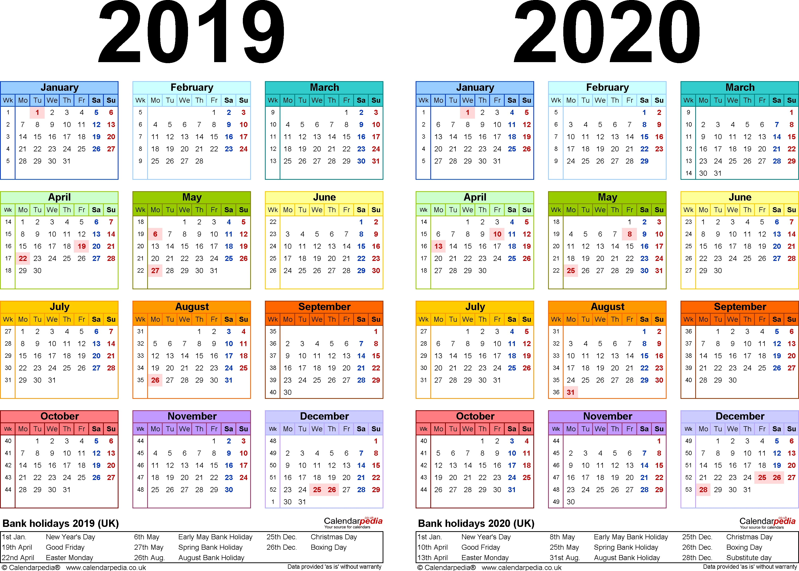 Two Year Calendars For 2019 & 2020 (Uk) For Excel