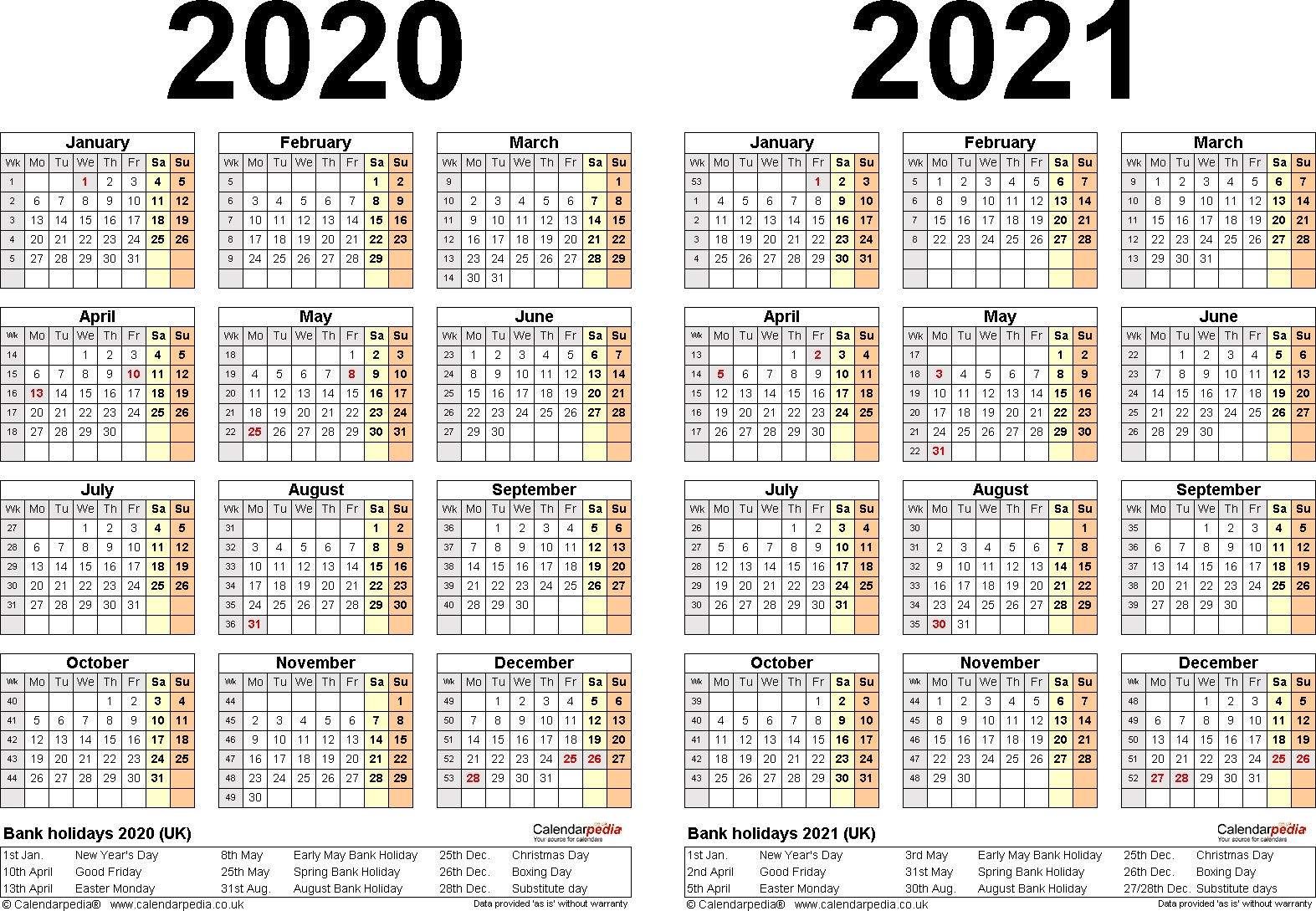 Two Year Calendars For 2020 & 2021 (Uk) For Excel