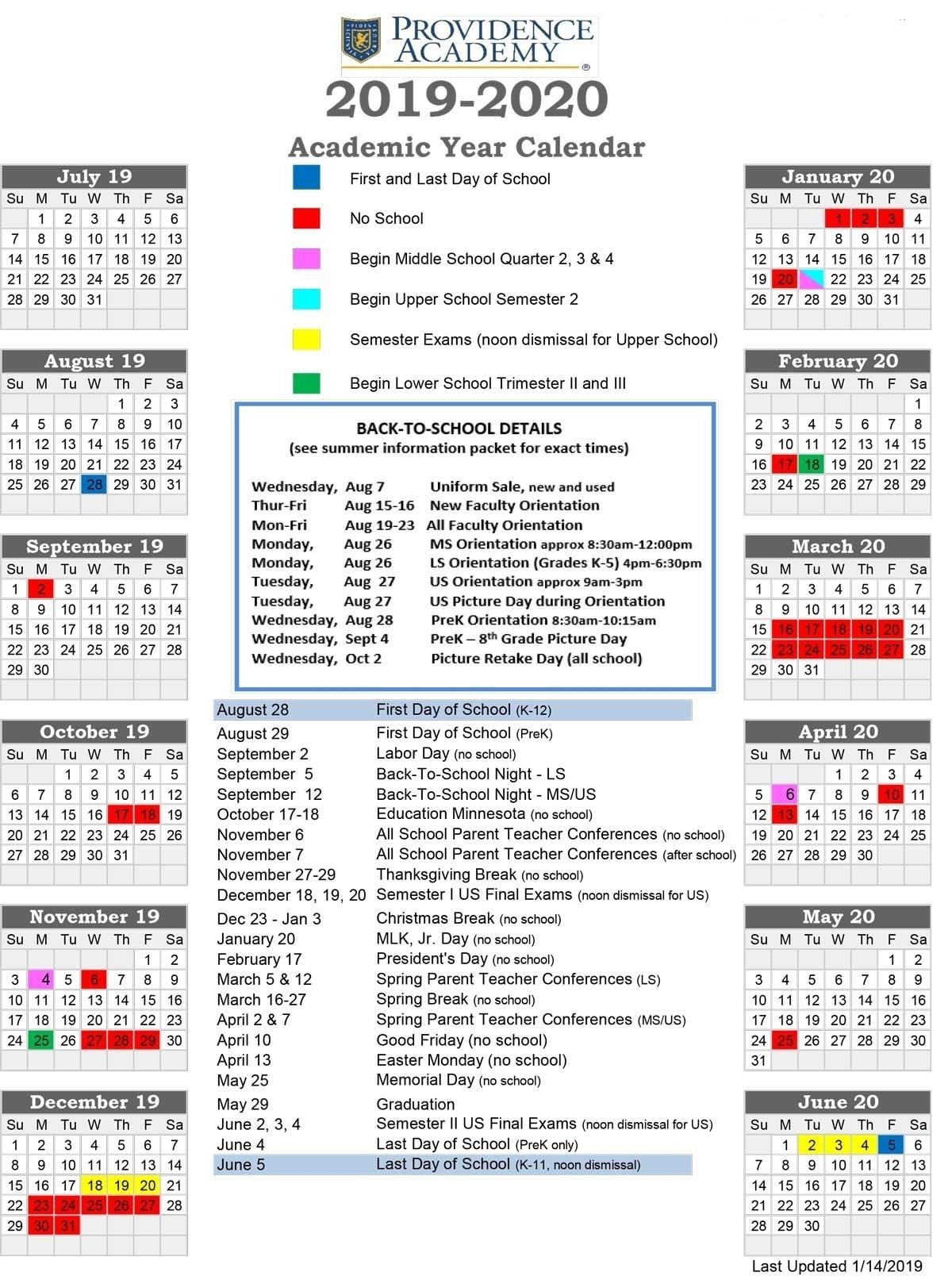 U Of M School Calendar 2020 | Calendar Design Ideas