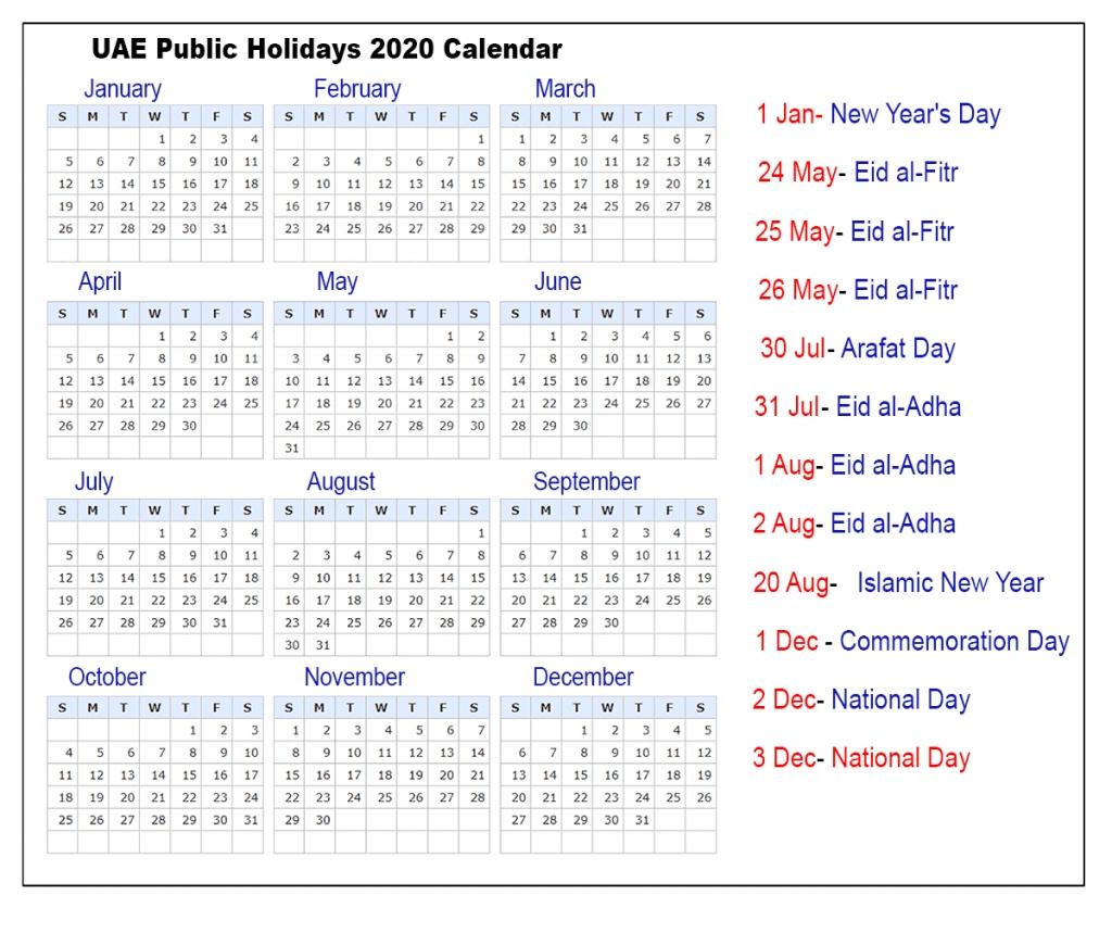 Uae Public Holidays 2020 Calendar | Uae Holidays 2020