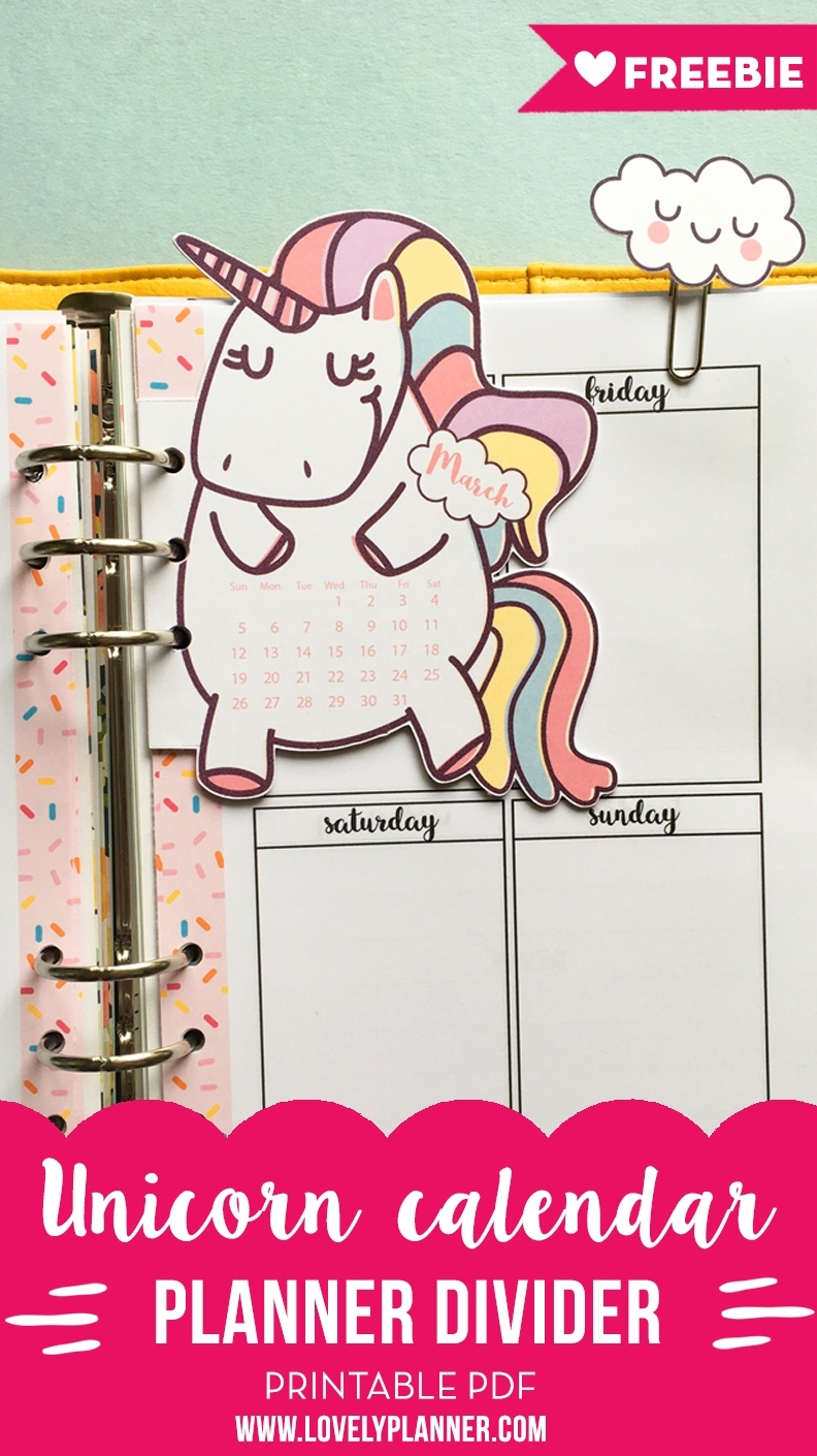 Unicorn Calendar Divider + Cloud Paper Clips For Your