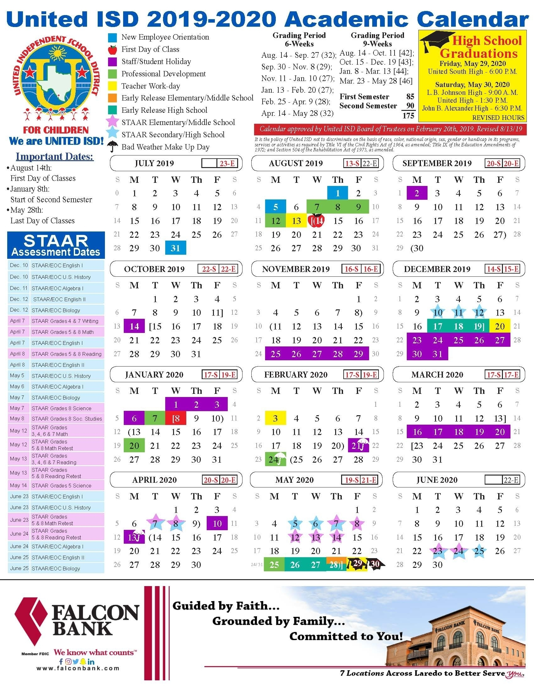 United Isd – Academic Calendar – Bellevue School Calendar