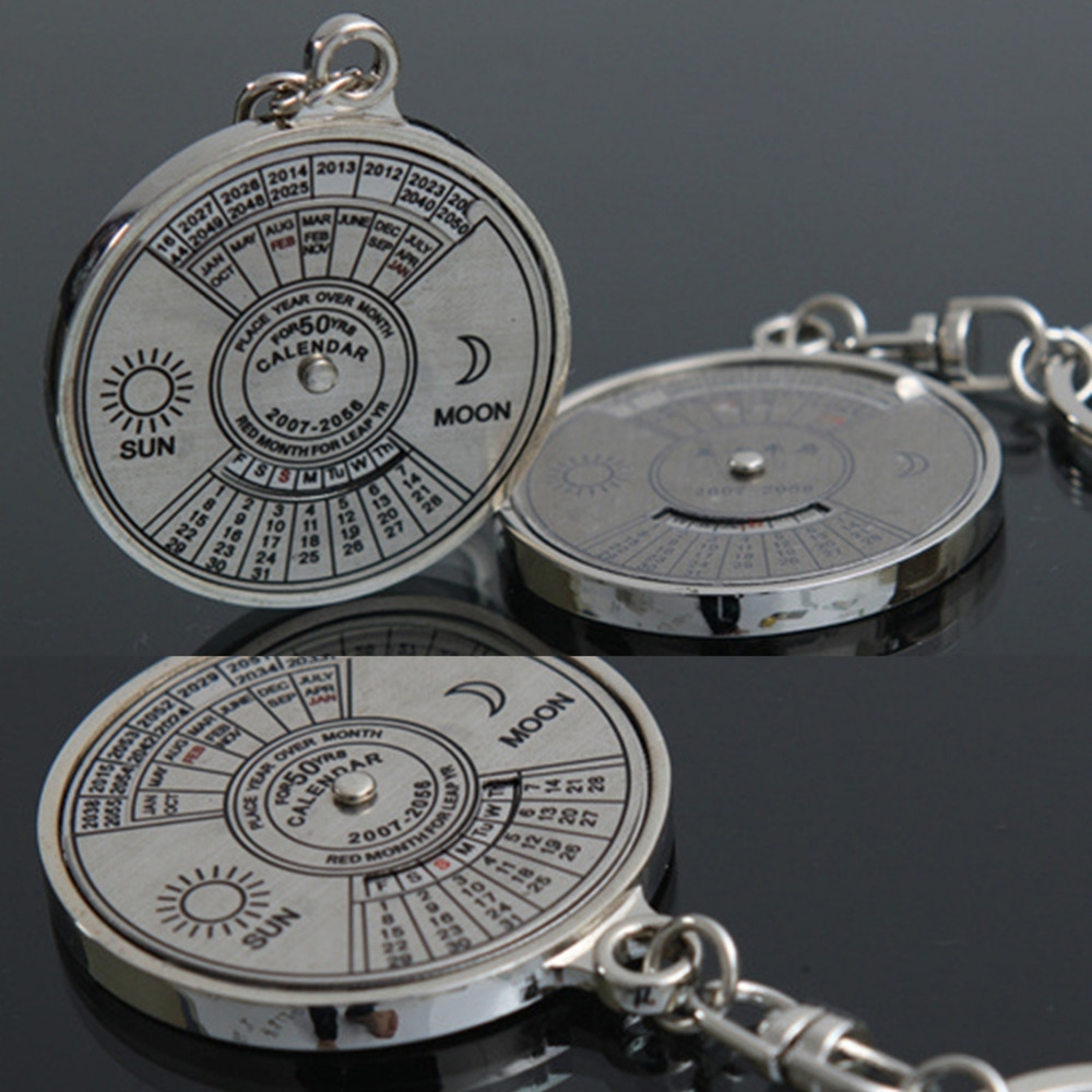 Us $1.04 16% Off|Perpetual Calendar Keyring Keychain Unique Metal Keys  Chain Ring Fobs Trinket Ornament Accessories 50 Year Novelty Jewelry-In Key