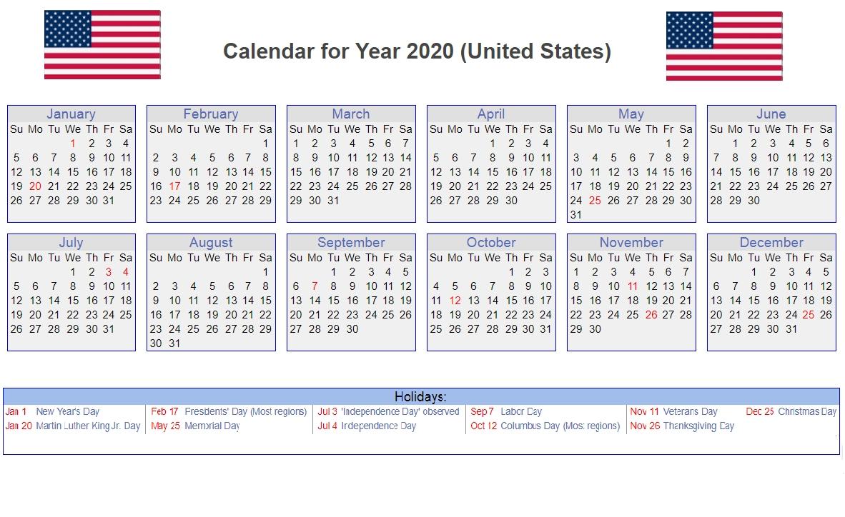 Us 2020 Holidays Calendar | 2020 Calendars | Yearly Calendar