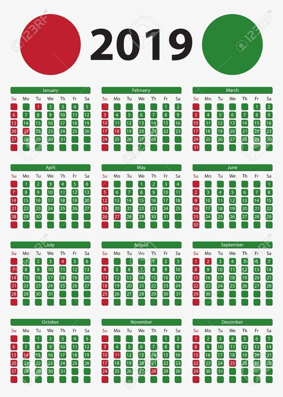Usa Vertical Calendar 2019, 5X7 Inches - Official Holidays And..