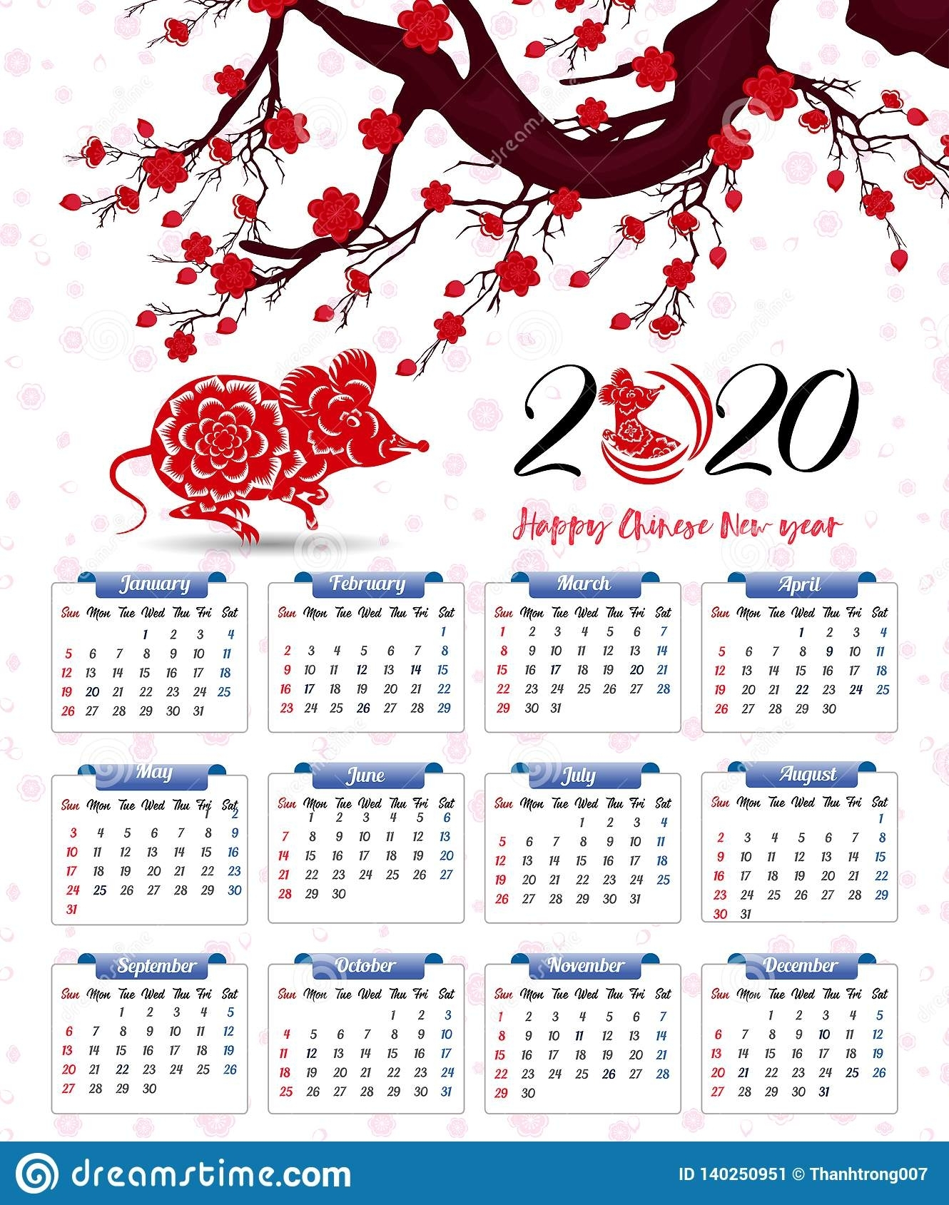 Vector 2020 Calendar For New Year Of Mouse Stock Vector