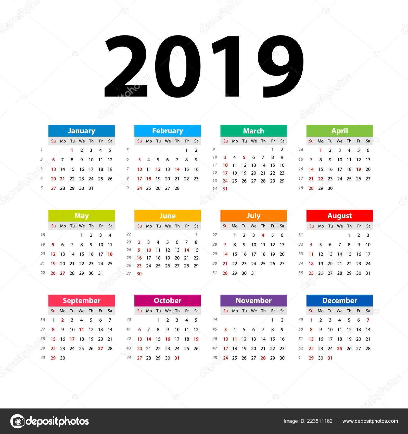 Vector Calendar 2019 Colorful Week Starts Sunday English