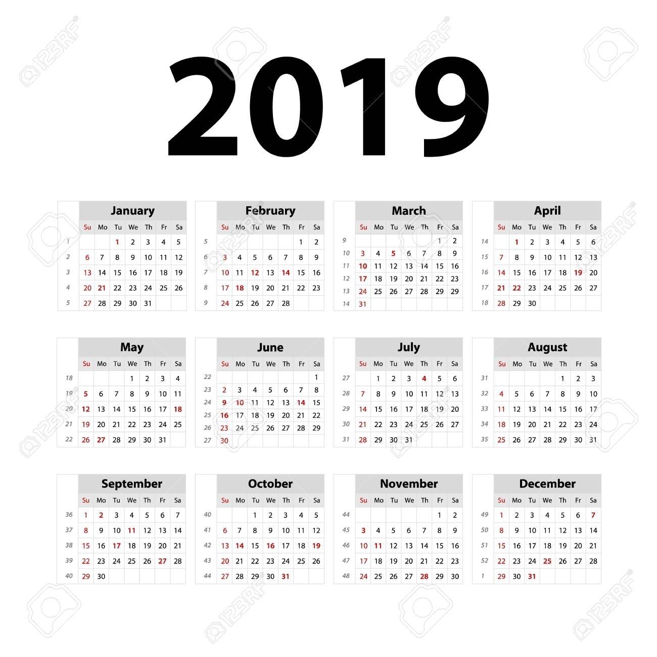 Vector Calendar 2019. Grey. Week Starts On Sunday. English Calender