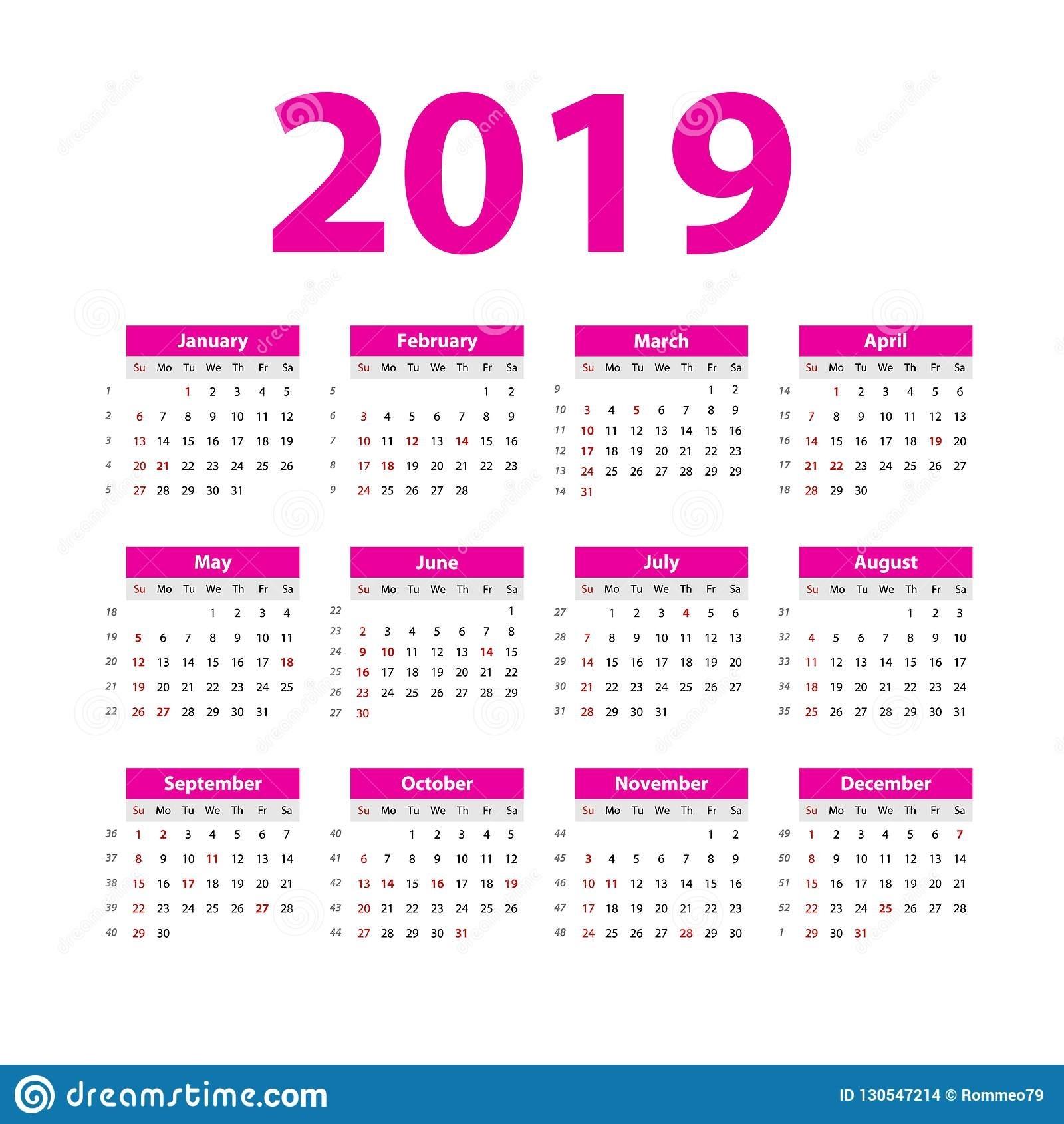 Vector Calendar 2019. Pink. Week Starts On Sunday. English