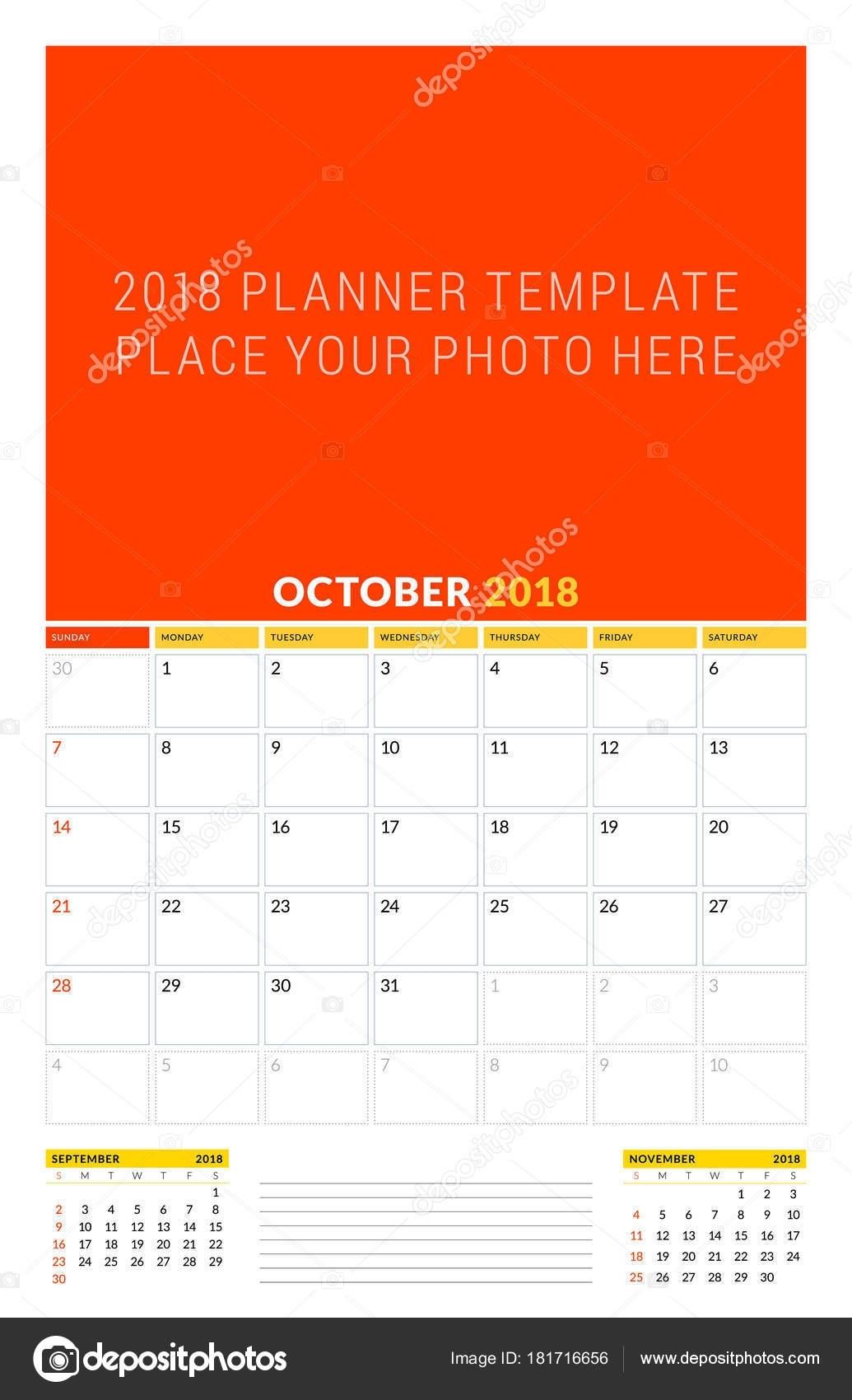 Vector Calendar Planner Template For October 2018. Vector