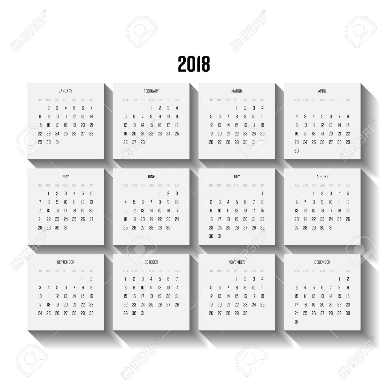 Vector Calendar - Year 2018. Week Starts From Sunday. Vector..
