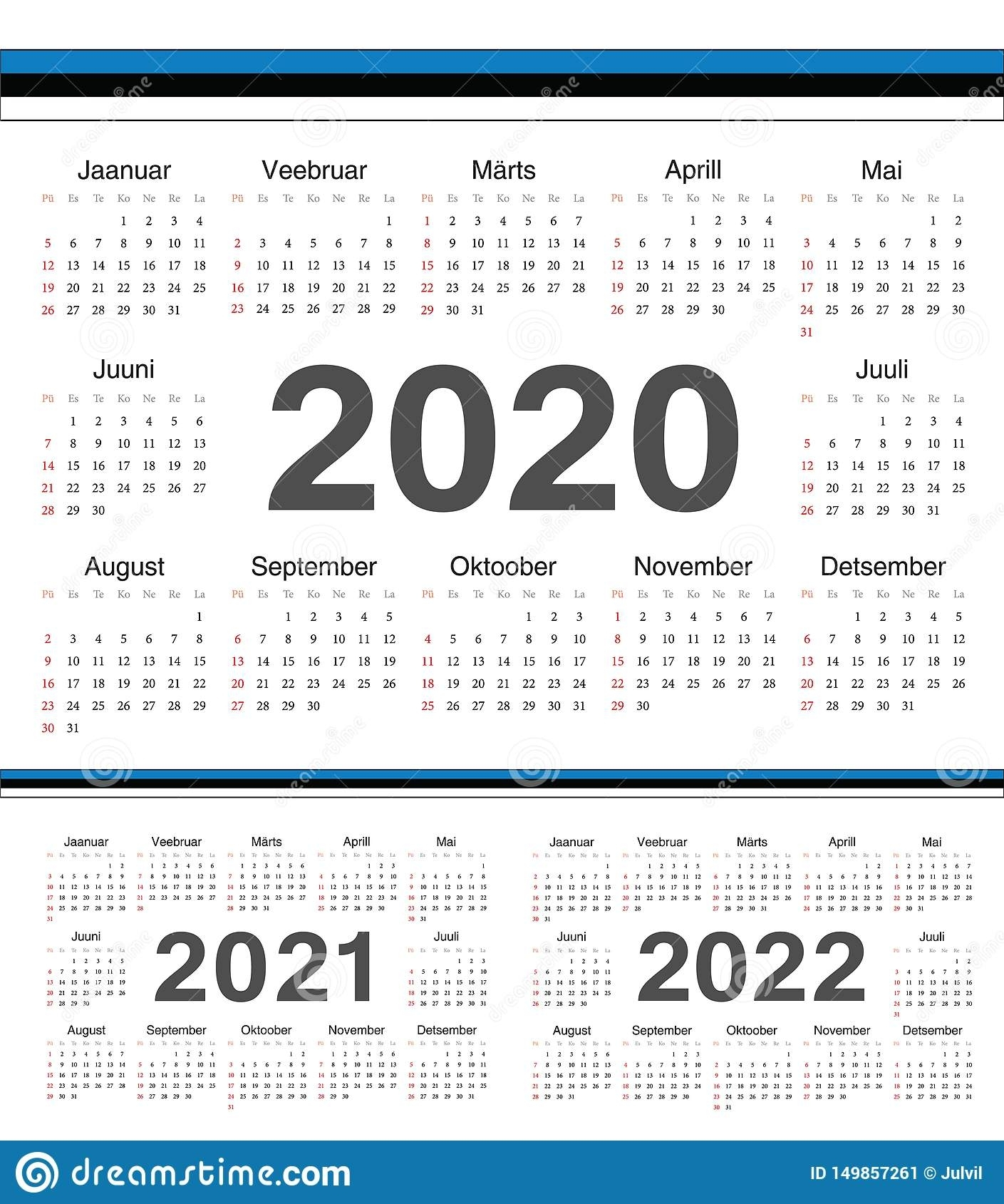 Vector Estonian Circle Calendars 2020, 2021, 2022 Stock