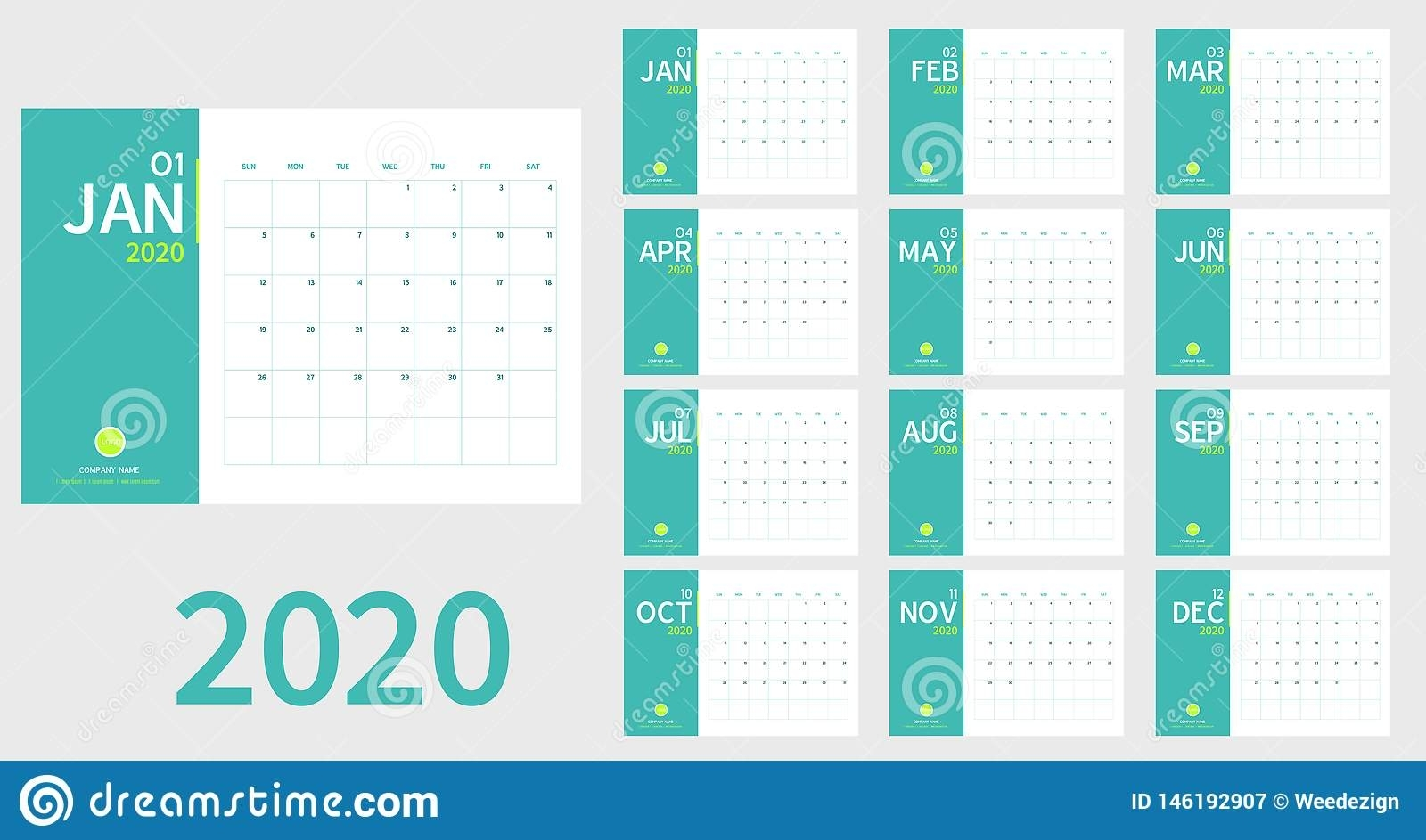 Vector Of 2020 New Year Calendar In Clean Minimal Table