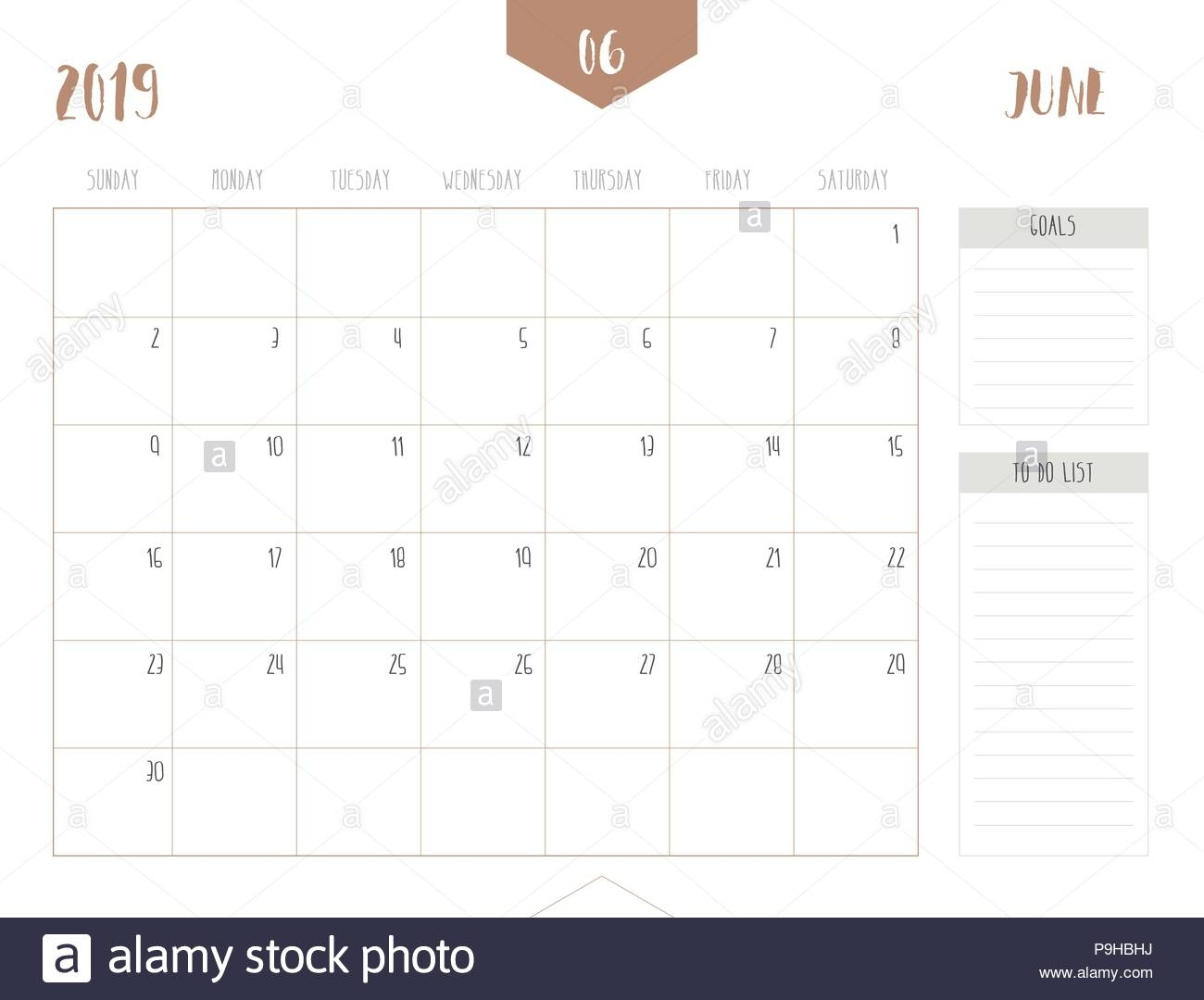 Vector Of Calendar 2019 ( June ) In Simple Clean Table Style