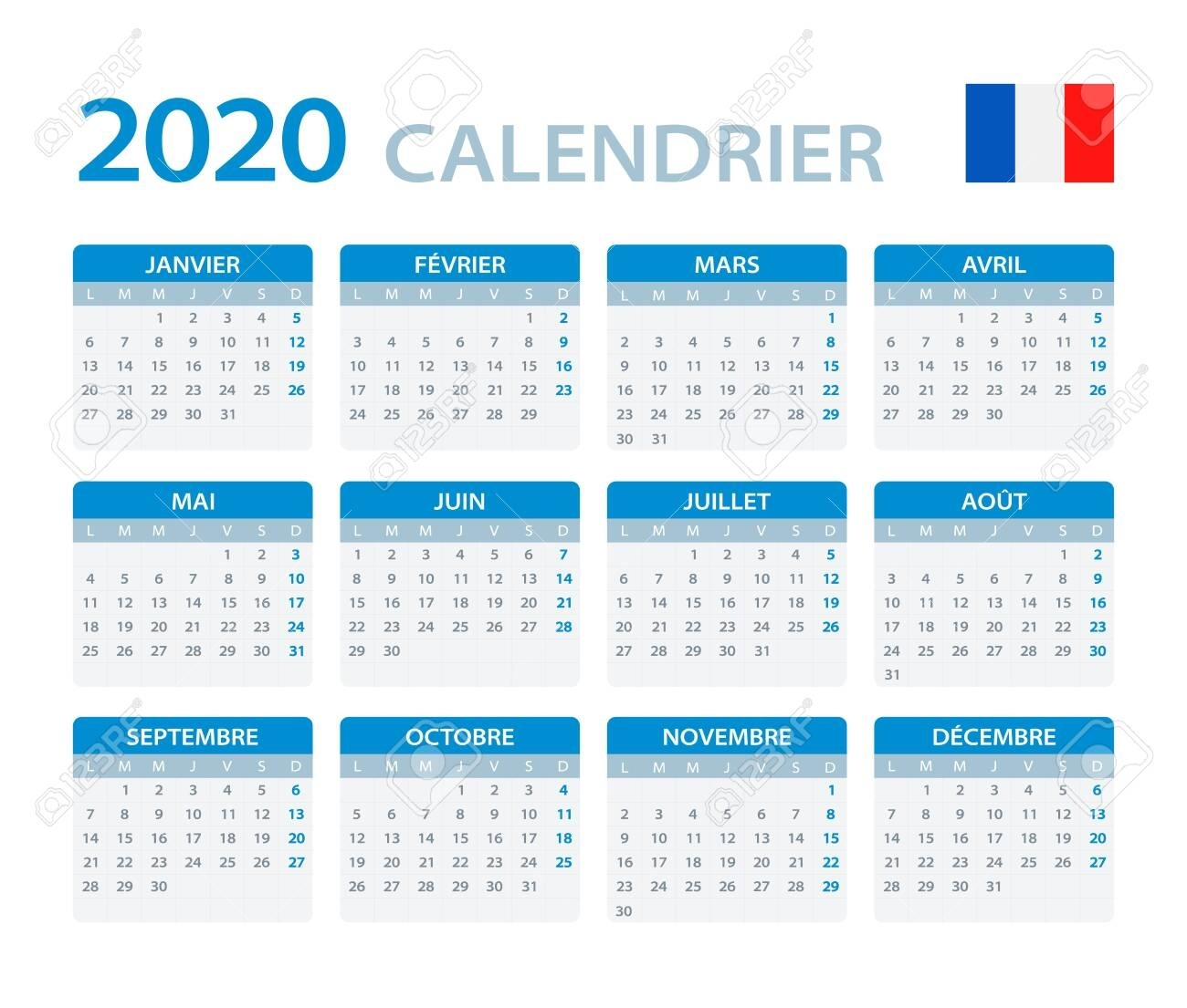 Vector Template Of Color 2020 Calendar - French Version