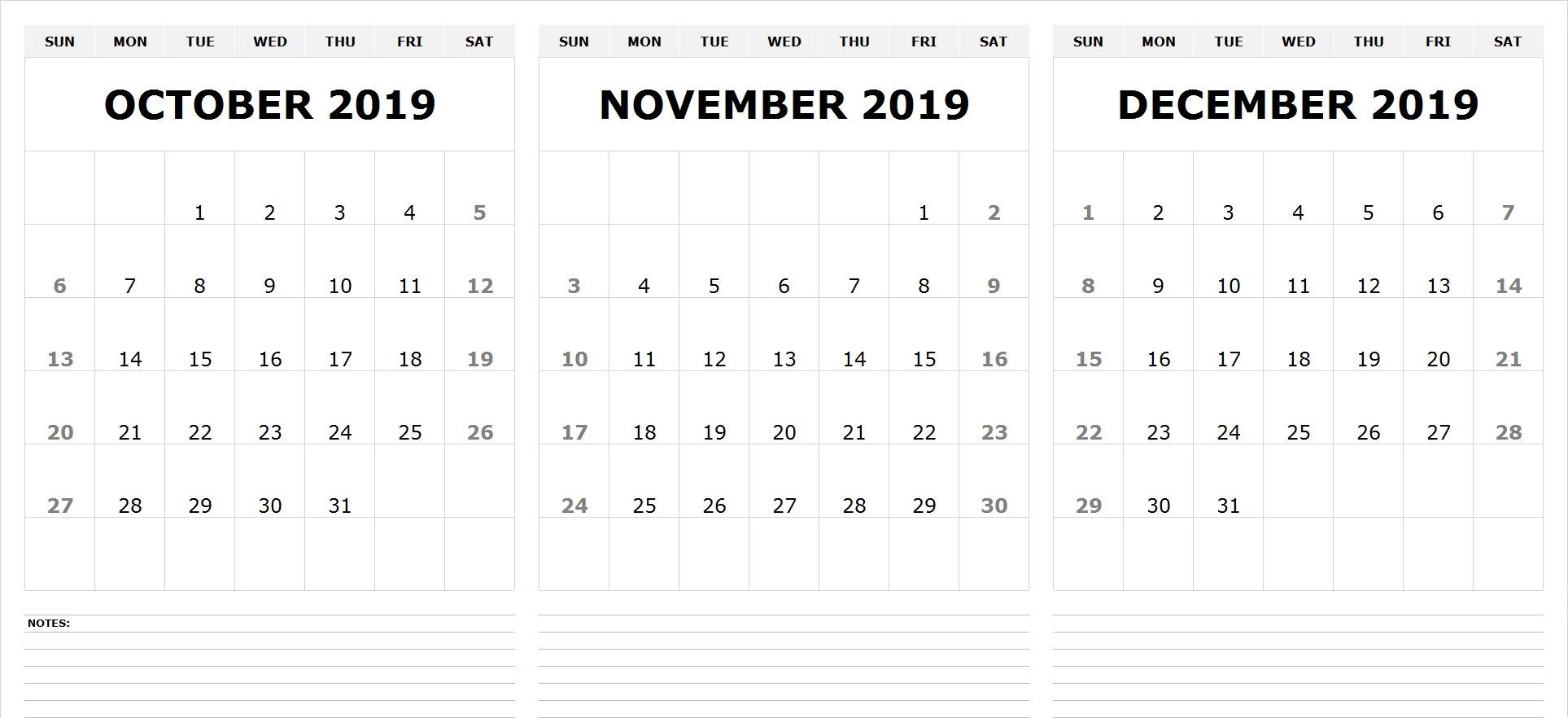 View Printable October November December 2019 Calendar