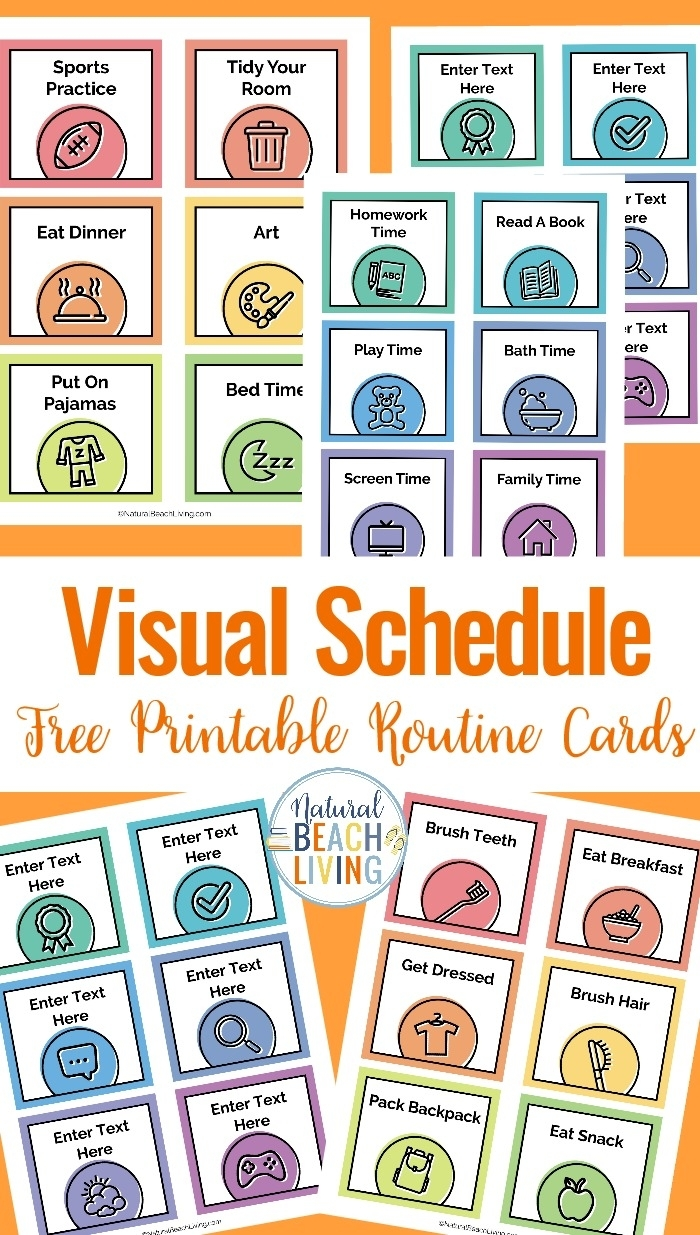 Visual Schedule - Free Printable Routine Cards - Natural