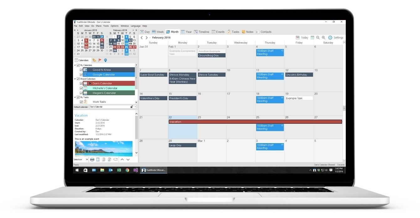 Vueminder - The Best Windows Calendar App