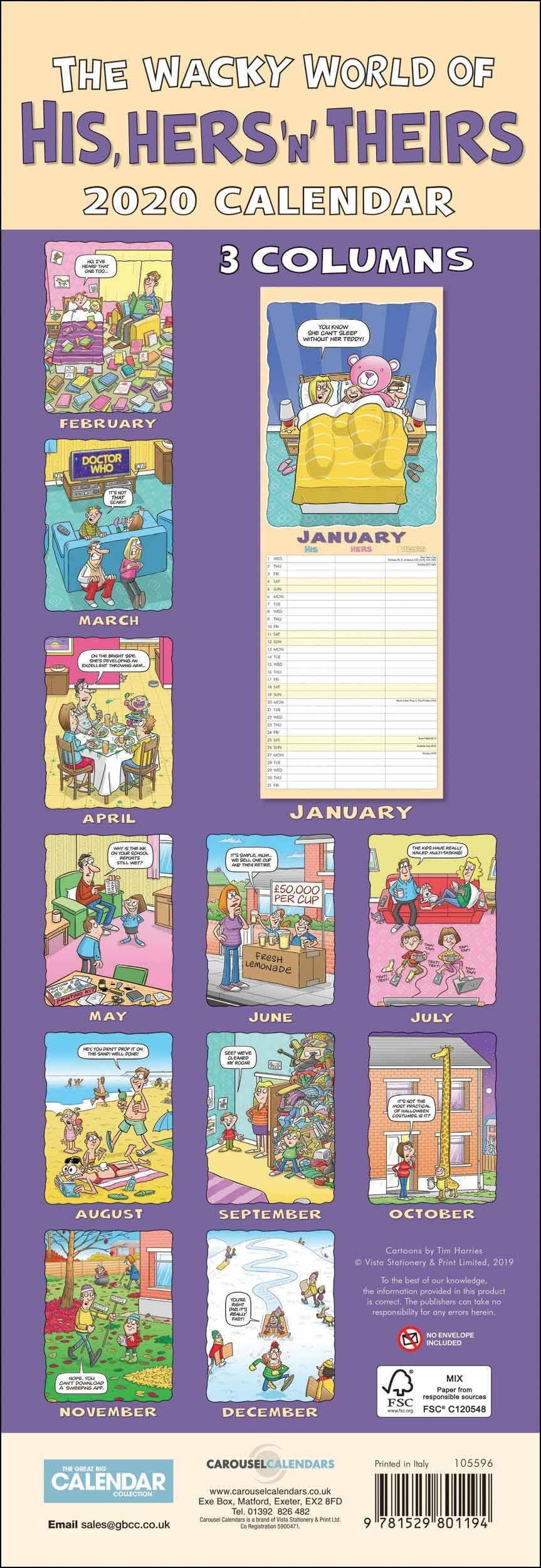 Wacky World Of His, Hers 'n' Theirs Slim Family Planner 2020