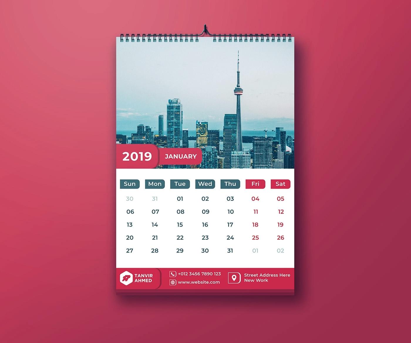 Wall Calendar 2019 | Free Psd Template | Psd Repo