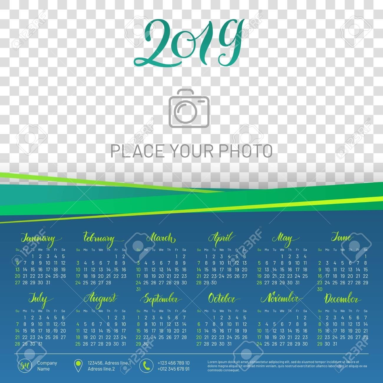 Wall Calendar 2019 Year, Copy Space Atop Transparent Background